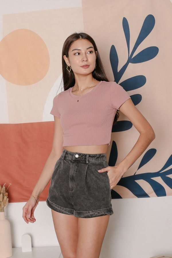 *TPZ* ESSENTIAL CREW NECK BASIC TOP IN DUSTY PINK