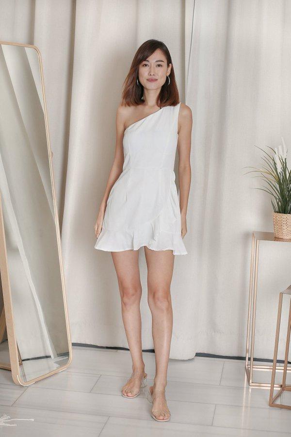 *TPZ* ZENICA TOGA RUFFLES DRESS ROMPER IN WHITE