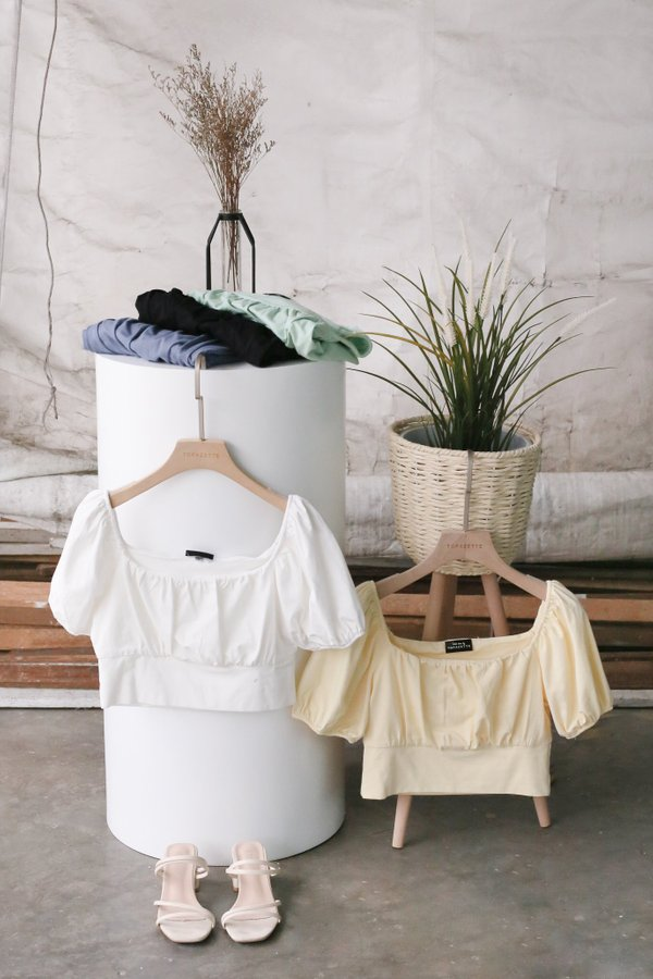 *TPZ* WISELLE RUCHED BASIC TOP IN BUTTERMILK YELLOW