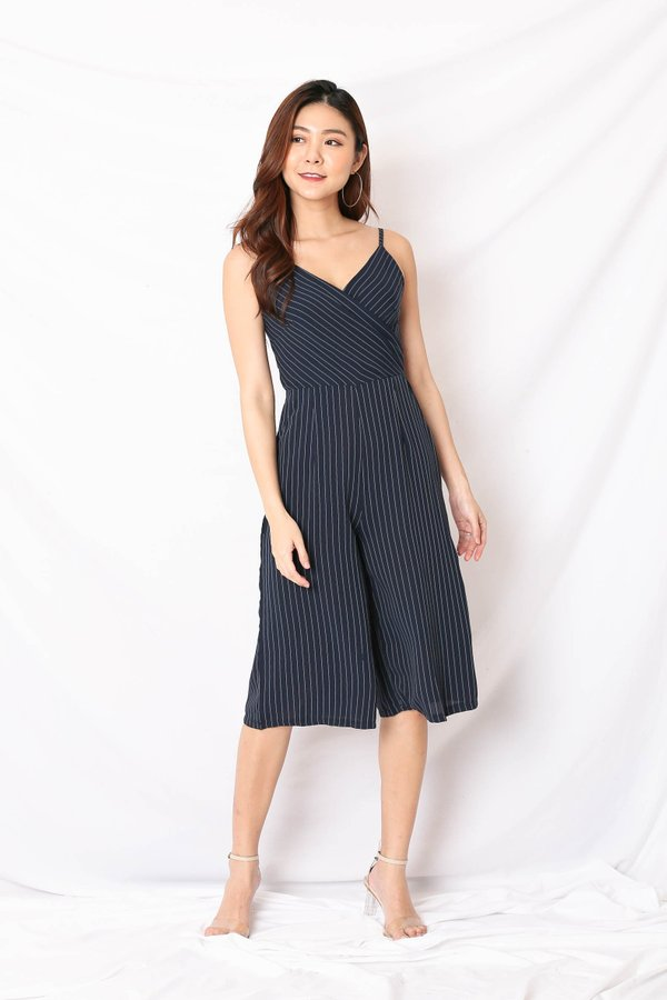 *TPZ* (PREMIUM) XENIA CULOTTES JUMPSUIT IN NAVY PINSTRIPES
