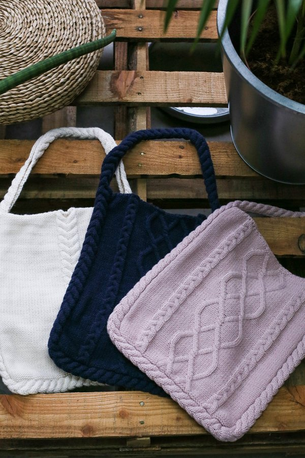 MYN CABLE KNIT TOTE BAG
