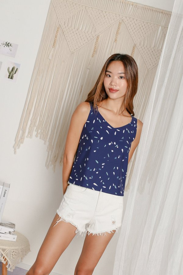 *TPZ* PARTY CONFETTI 4 WAY TOP WITH SCRUNCHIE AND MASK (NAVY CONFETTI/ SAGE BASE)