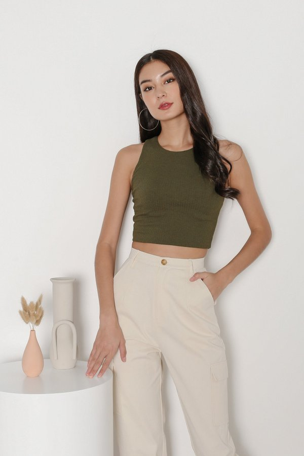 *TPZ* BACK STREET 2 WAYS RIBBED TOP IN OLIVE