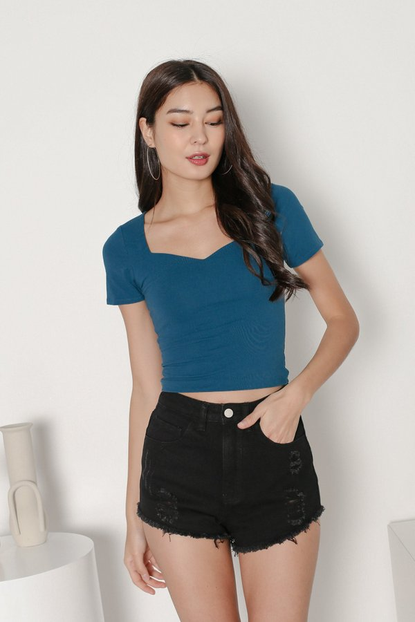*TPZ* SWEETHEART BASIC TOP IN TEAL