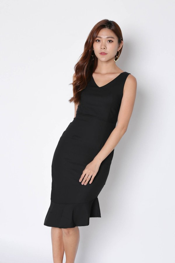 *TPZ* (PREMIUM) MERMAID ASYMMETRICAL BODYCON DRESS IN BLACK