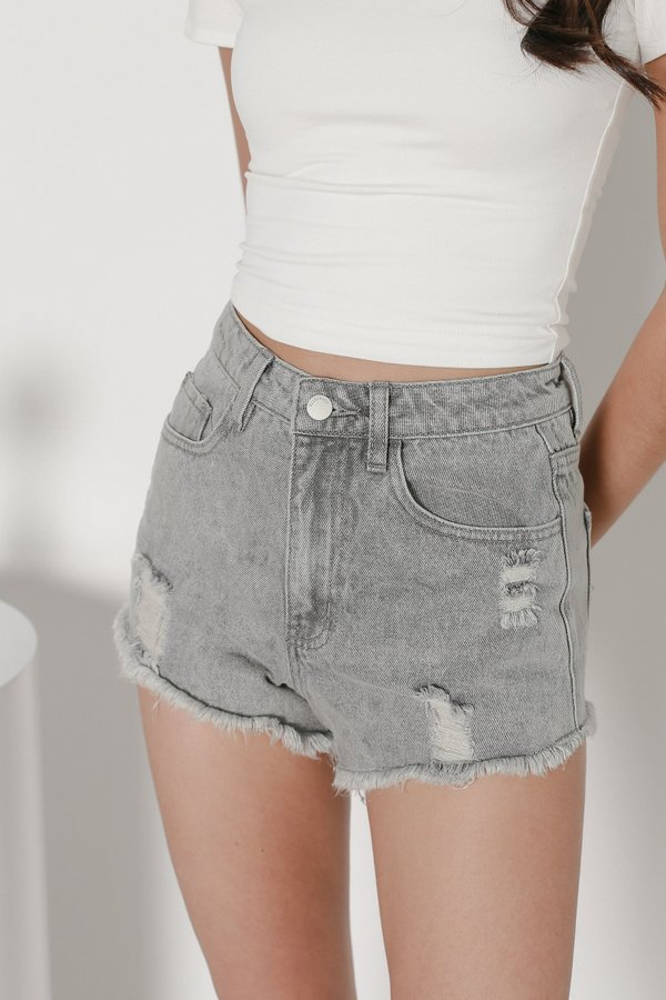 *TPZ* MADE FOR YOU RIPPED DENIM SHORTS IN VINTAGE GREY WASH