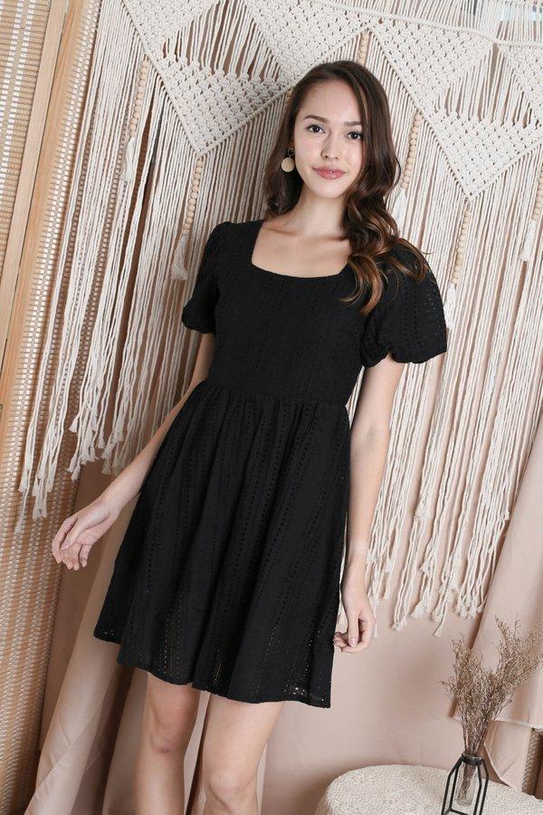 *TPZ* (PREMIUM) CAPRIS EYELET DRESS ROMPER IN BLACK