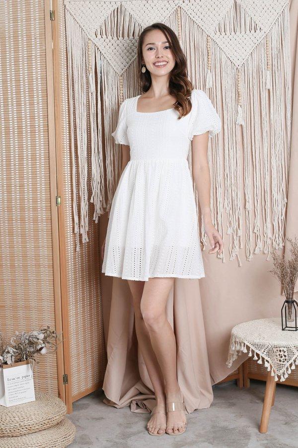 *TPZ* (PREMIUM) CAPRIS EYELET DRESS ROMPER IN WHITE