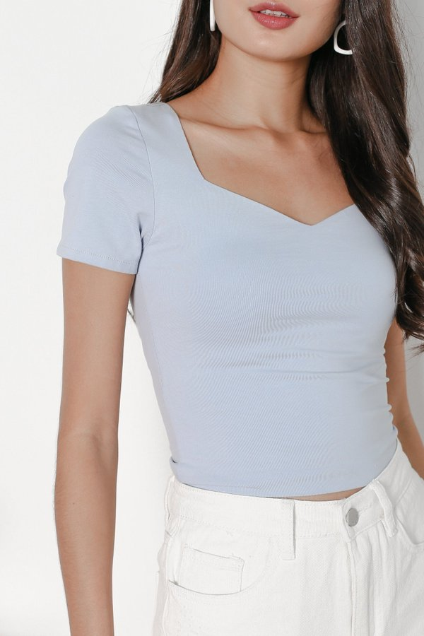 *TPZ* SWEETHEART BASIC TOP IN POWDER BLUE