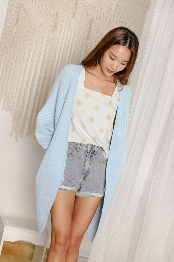 BEA COSY SOFT KNIT CARDIGAN IN SKY BLUE