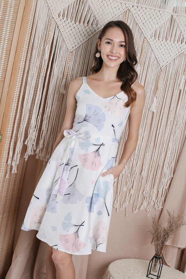*TPZ* (PREMIUM) DANDELION FLORAL DRESS IN WHITE