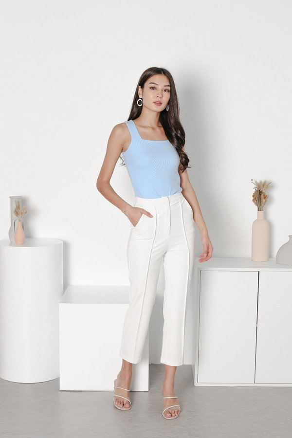 *TPZ* ALL DAY RIBBED BASIC TOP IN SKY BLUE *WITH SCRUNCHIE*