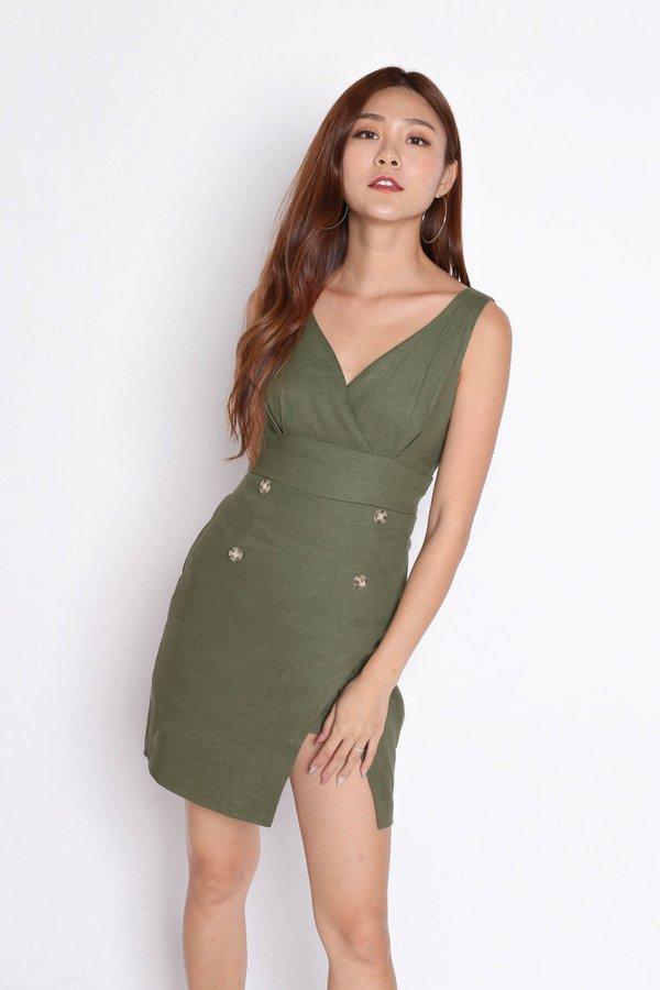 *TPZ* (PREMIUM) RAE LINEN DRESS IN ARMY GREEN
