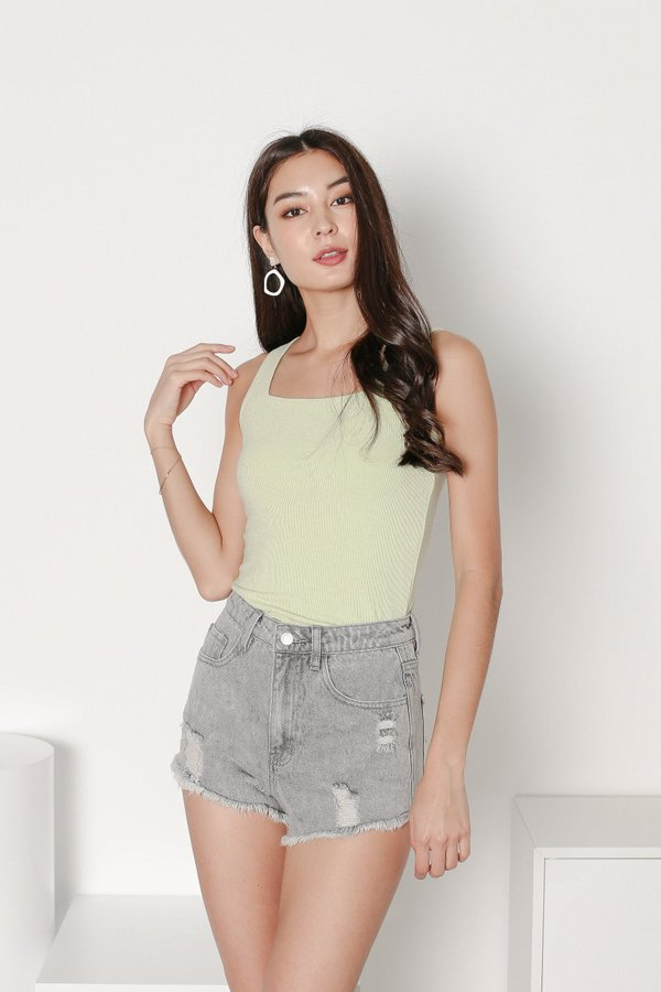 *TPZ* ALL DAY RIBBED BASIC TOP IN APPLE GREEN *WITH SCRUNCHIE*