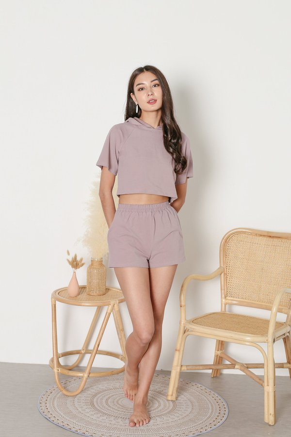 *TPZ* ELEVATED LOUNGE HOODIE TOP IN MAUVE