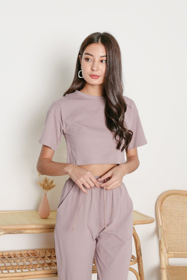 *TPZ* ELEVATED LOUNGE TEE IN MAUVE