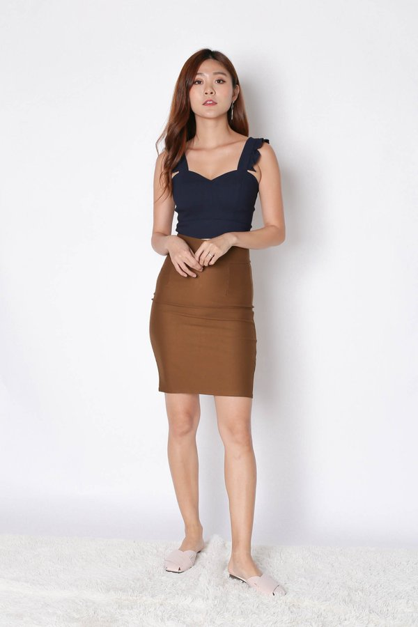 CLASSIC BODYCON SKIRT IN CAMEL
