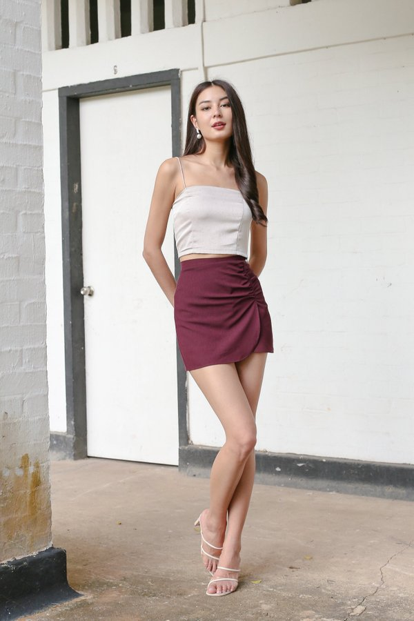 *TPZ* SOULMATE RUCHED SKORTS IN PLUM