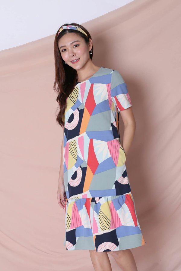 (PREMIUM) THE COLOURFUL ABSTRACT DROP WAIST DRESS (VERSION 1) BLUE/ PINK