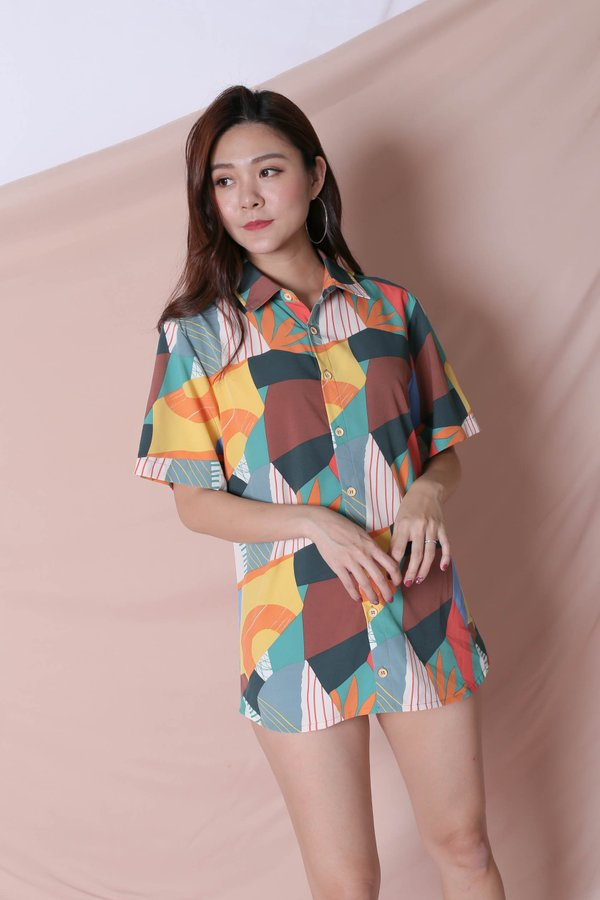 (PREMIUM) COLOURFUL ABSTRACT UNISEX SHIRT (VERSION 2) GREEN/ BROWN