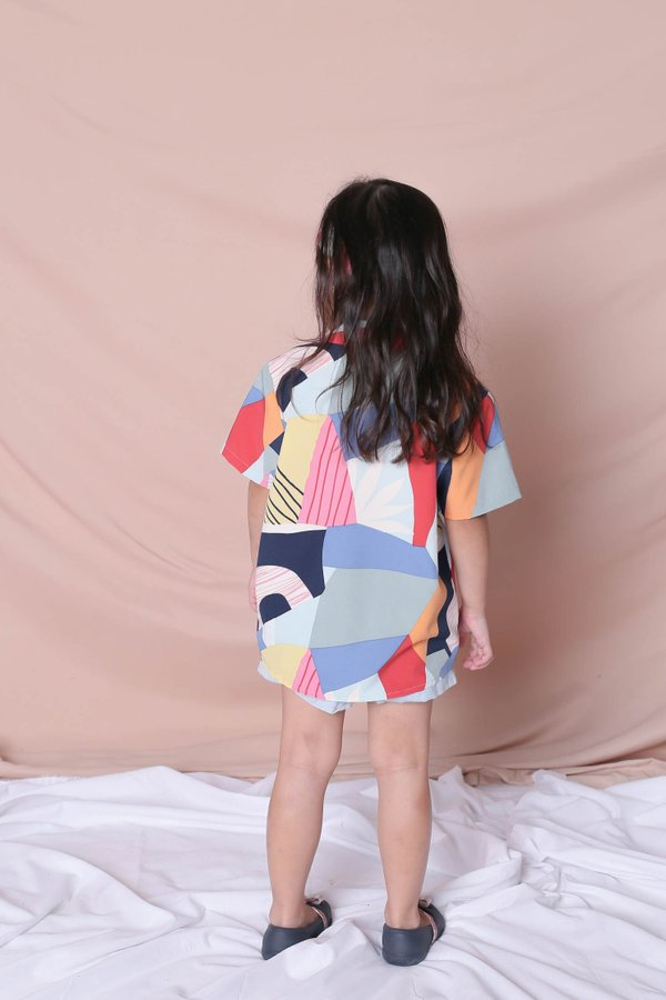 *LITTLE TOPAZETTE* THE COLOURFUL ABSTRACT UNISEX SHIRT (VERSION 1) PINK/BLUE