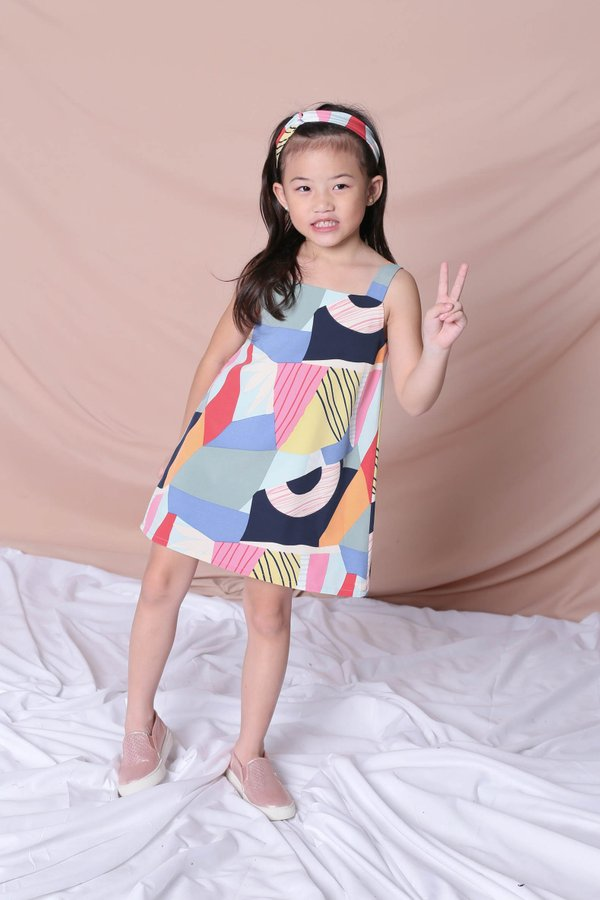 *LITTLE TOPAZETTE* THE COLOURFUL ABSTRACT 2 WAY TRAPEZE DRESS (VERSION 1) BLUE/ PINK