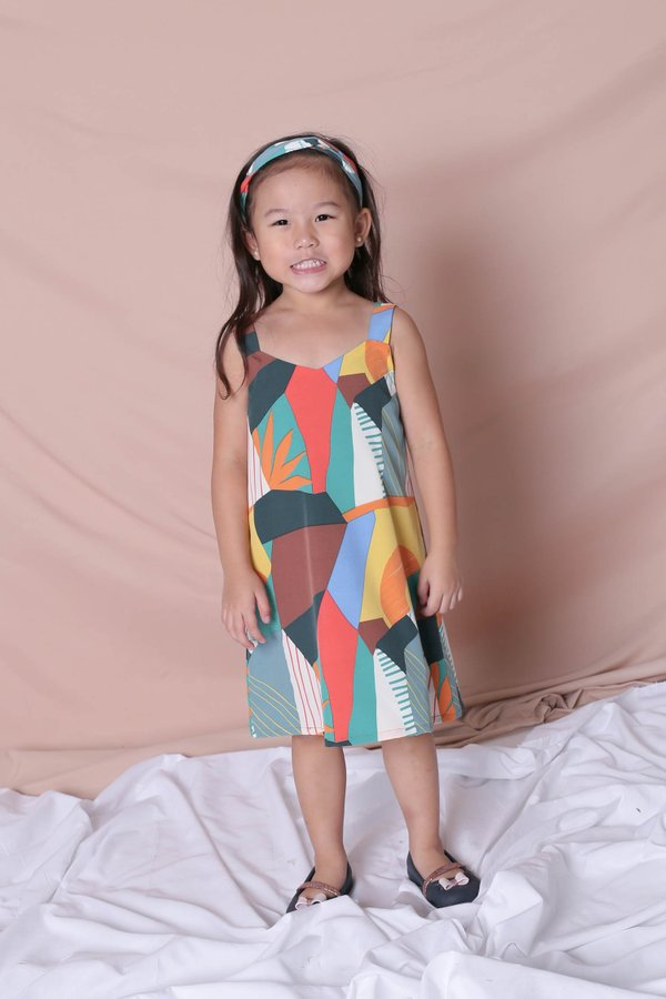 *LITTLE TOPAZETTE* THE COLOURFUL ABSTRACT 2 WAY TRAPEZE DRESS (VERSION 2) GREEN/ BROWN