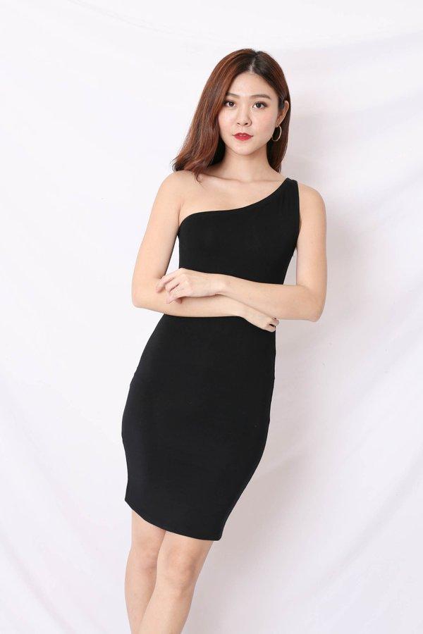 BASIC TOGA BODYCON DRESS IN BLACK