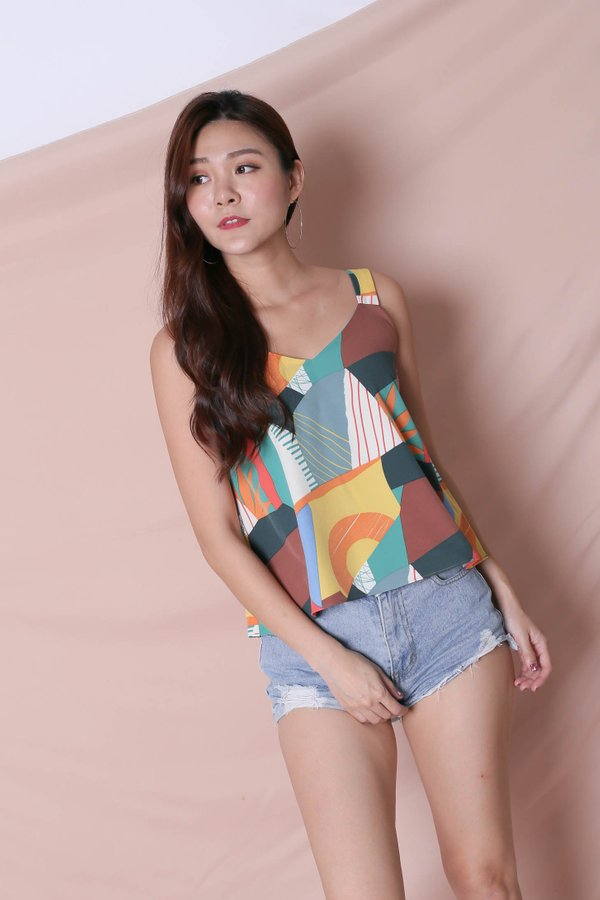 (PREMIUM) THE COLOURFUL ABSTRACT 2 WAY TOP (VERSION 2) GREEN/ BROWN