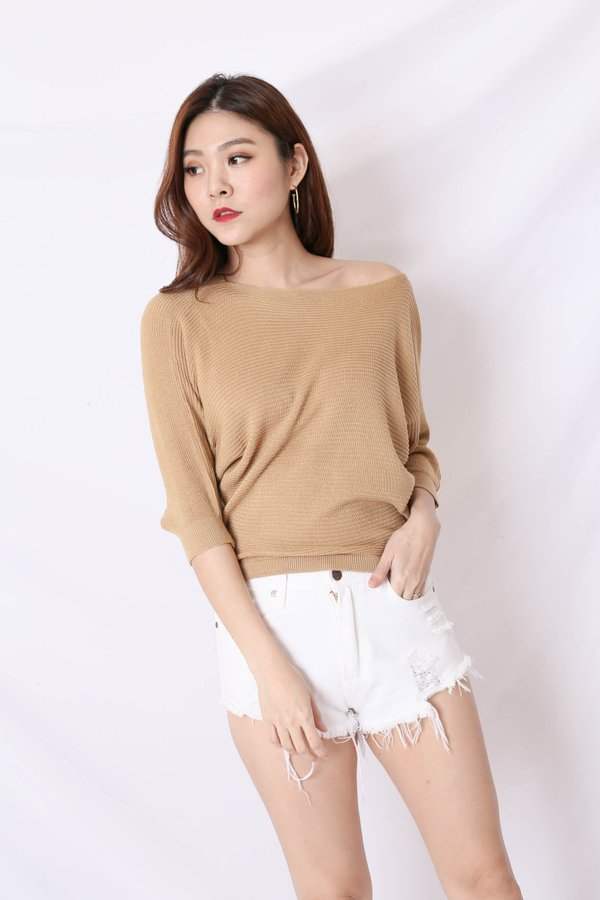 YONA KNIT TOP IN TAUPE