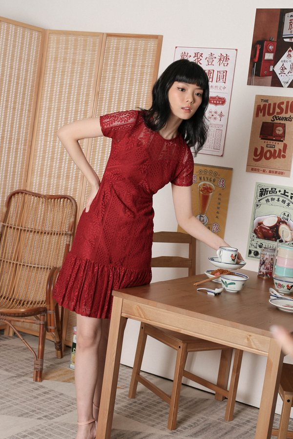 *TPZ* KEQI LACE DRESS IN WINE RED
