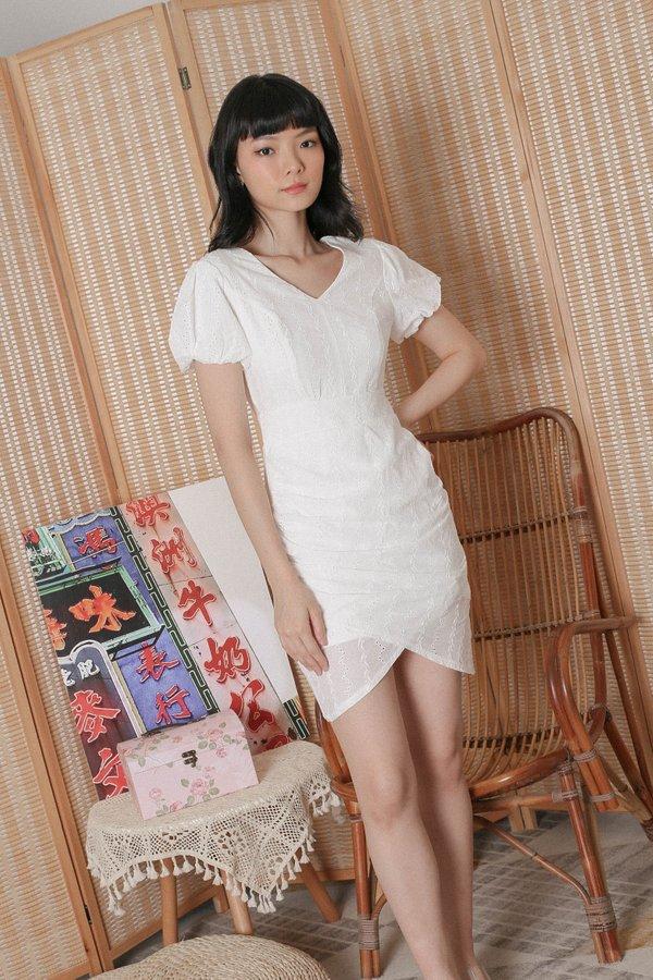 *TPZ* (PREMIUM) TULIP EYELET DRESS ROMPER IN WHITE