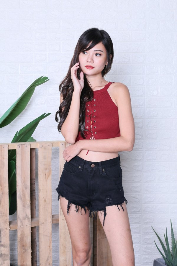 YEL REVERSIBLE LACED UP KNIT TOP IN WINE