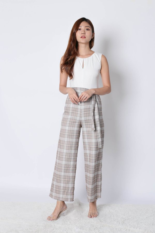 *TPZ* (PREMIUM) KLEN CLASSIC CHECKERED 2 WAY JUMPSUIT IN WHITE