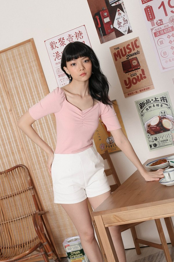 *TPZ* DENIA BASIC RUCHED TOP IN BABY PINK
