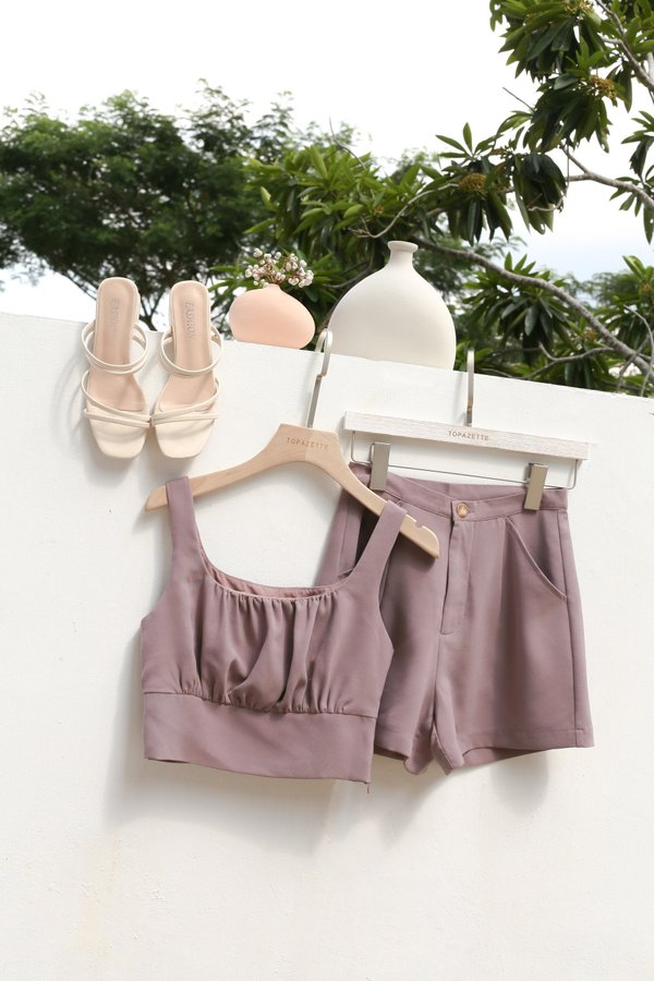 *TPZ* GISELLE RUCHED TOP IN MAUVE