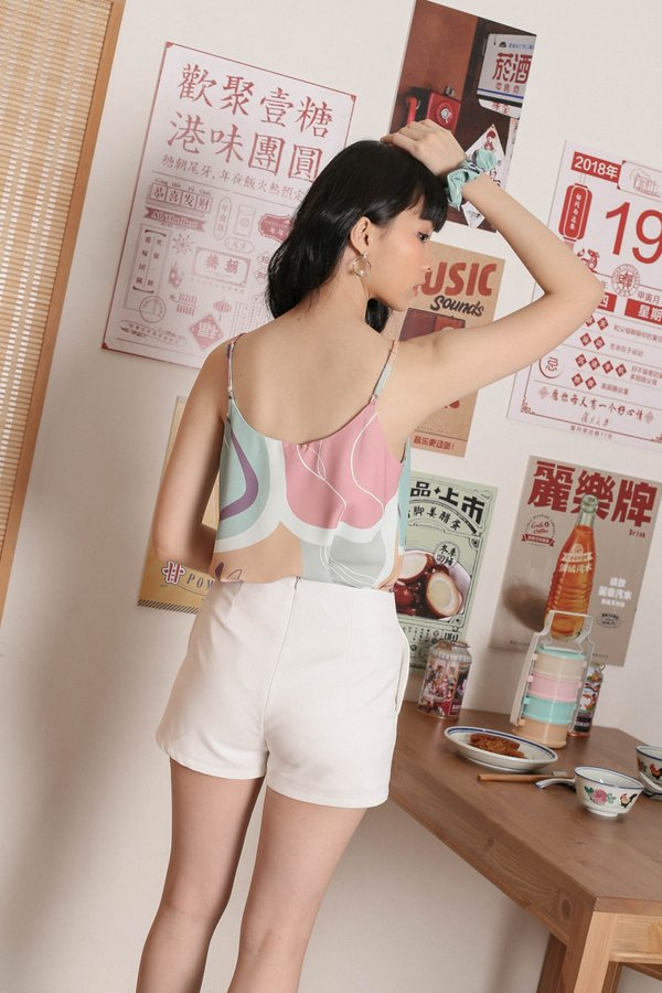 *TPZ* BLYE ABSTRACT SPAG TOP WITH SCRUNCHIE (SPRING PALETTE)