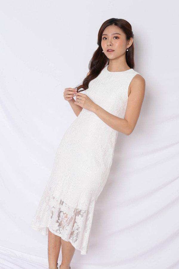 *TPZ* (PREMIUM) PAVLA REMOVABLE COLLAR ASYMMETRICAL LACE DRESS IN WHITE