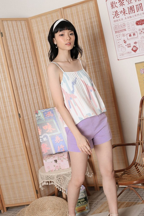 *TPZ* ROCHELLE ABSTRACT PLEATED SPAG TOP IN PASTEL