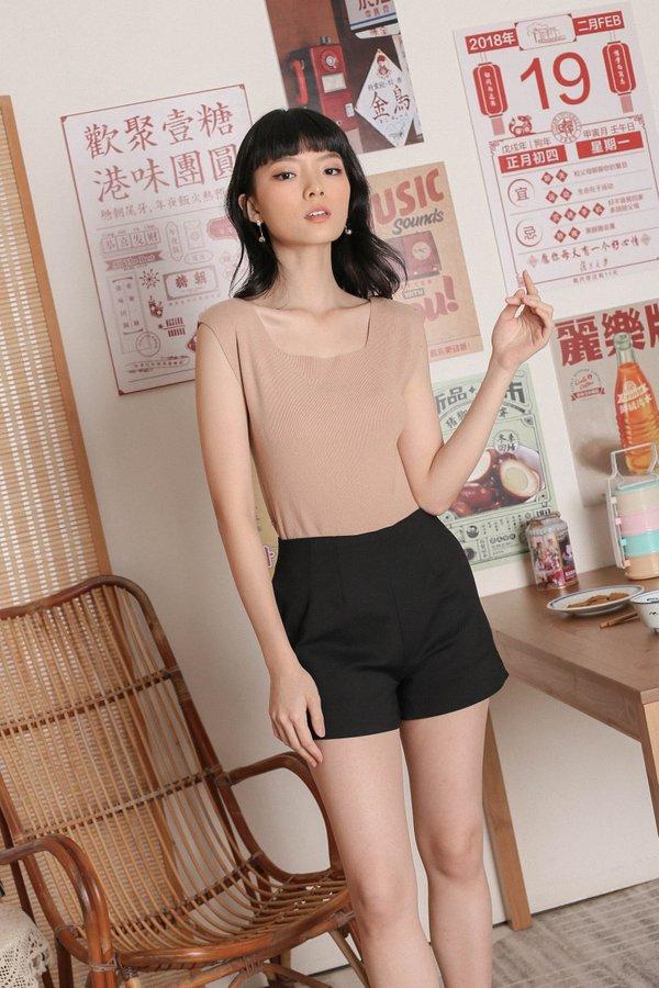UNA TIE STRING KNIT TOP IN TAUPE