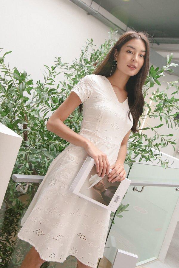 *TPZ* BELLE EYELET DRESS IN WHITE