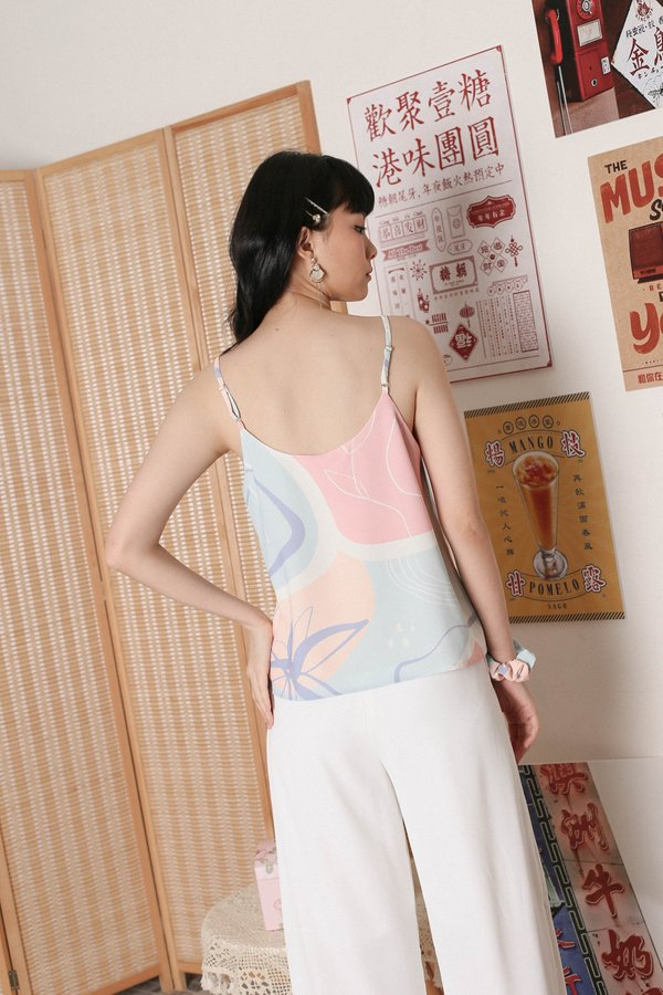 *TPZ* BLYE ABSTRACT SPAG TOP WITH SCRUNCHIE (PASTEL PALETTE)