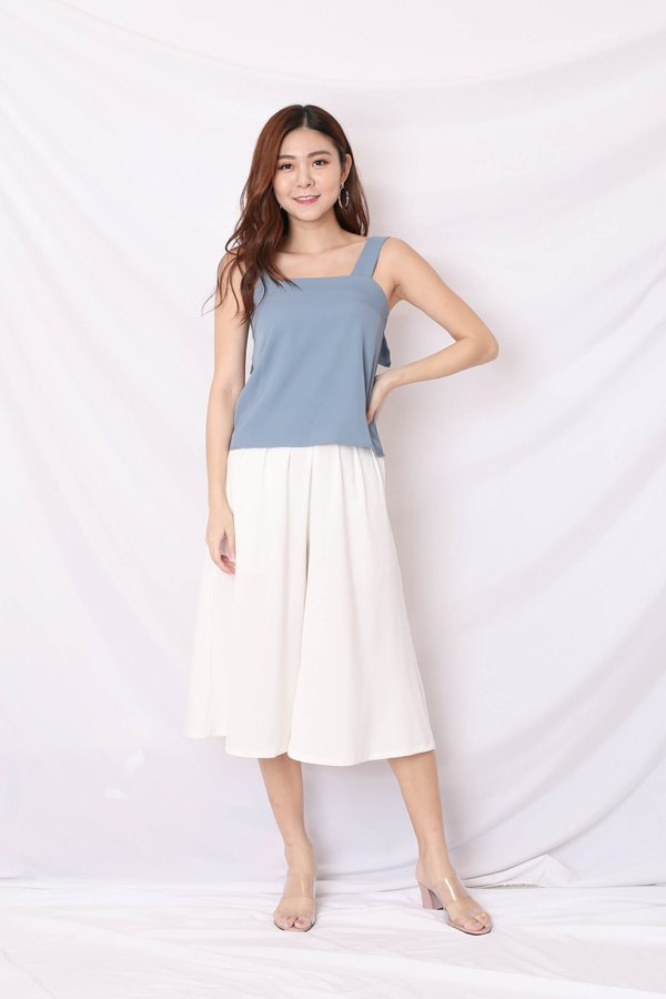 *TPZ* (PREMIUM) AMBER KNOT TOP IN STALE BLUE