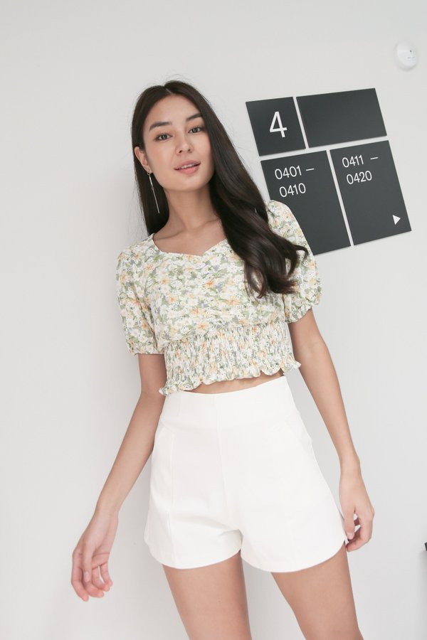 *TPZ* FLORA RUCHED EYELET EMBROIDERY TOP IN SAGE