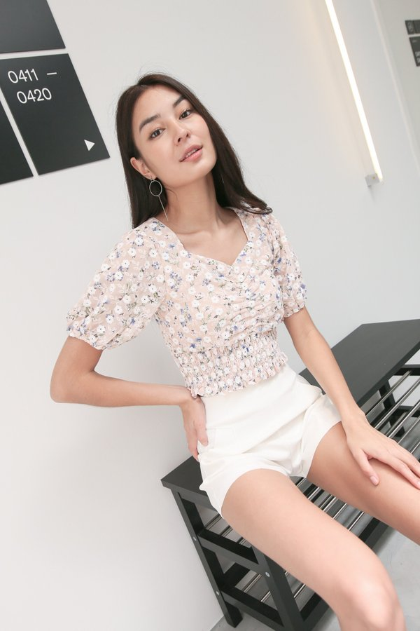*TPZ* FLORA RUCHED EYELET EMBROIDERY TOP IN DUSTY PINK