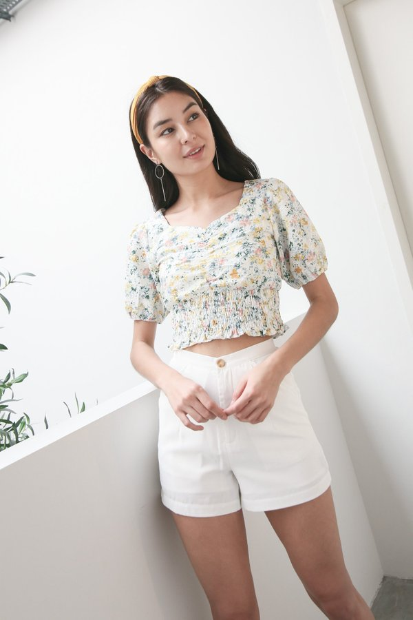 *TPZ* FLORA RUCHED EYELET EMBROIDERY TOP IN WHITE