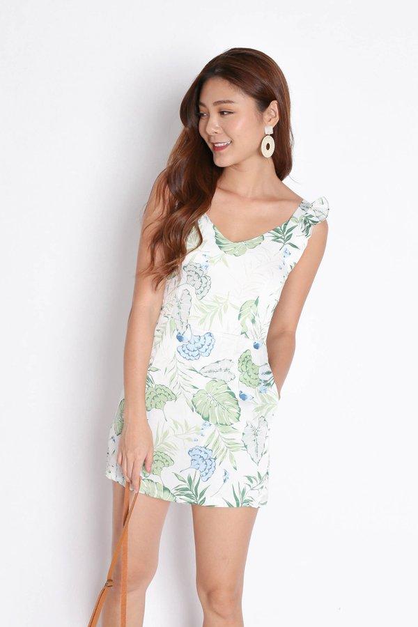 *TPZ* (PREMIUM) SONYA TROPICAL DRESS ROMPER IN WHITE/ GREEN
