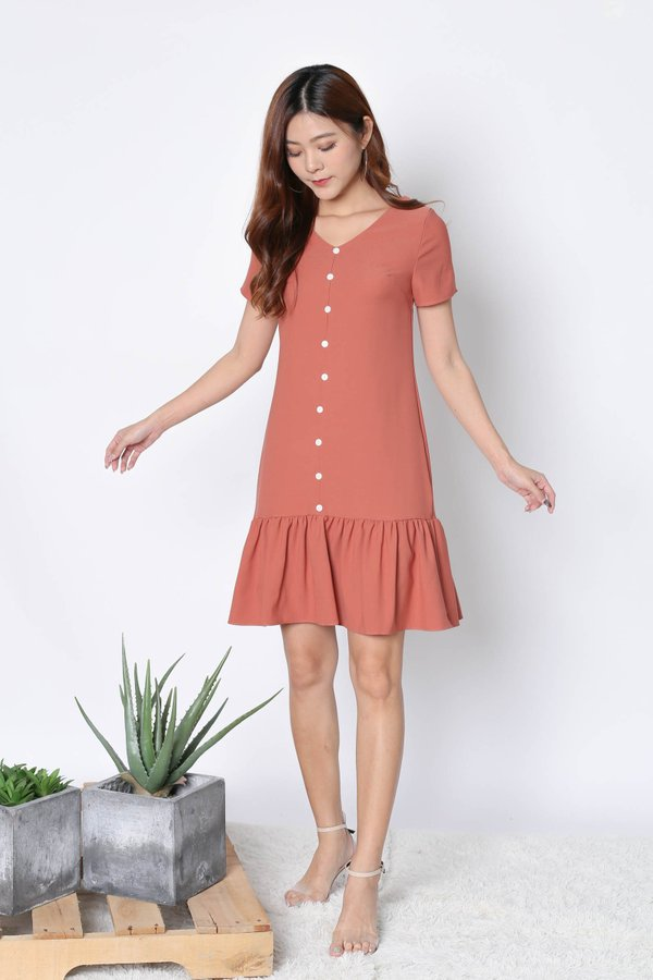 *TPZ* (PREMIUM) KAMMY SLEEVED BUTTON DRESS IN CORAL