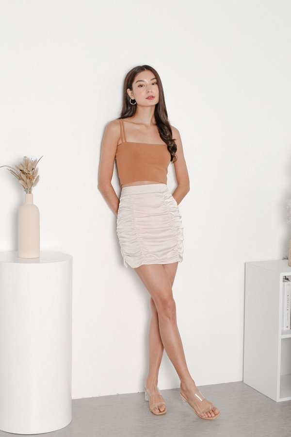 *TPZ* JADE RUCHED SKORTS IN SATIN IVORY