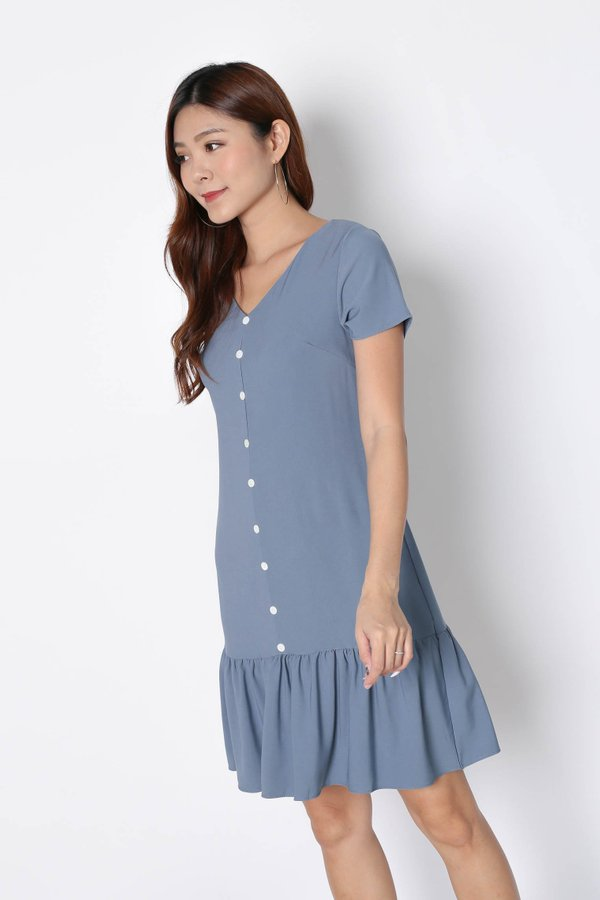 *TPZ* (PREMIUM) KAMMY SLEEVED BUTTON DRESS IN STALE BLUE